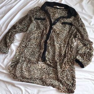 Cheetah Print Sheer Blouse